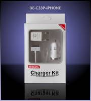 Набор 3в1 (АЗУ,СЗУ, USB кабель) BE-C33P-IPhone (1A) white-silver  /100